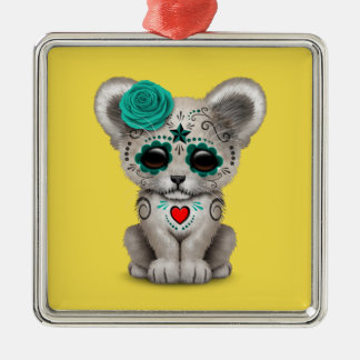 Blue Day of the Dead Lion Cub Metal Ornament