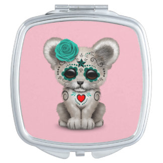 Blue Day of the Dead Lion Cub Mirror For Makeup