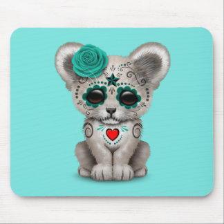 Blue Day of the Dead Lion Cub Mouse Pad