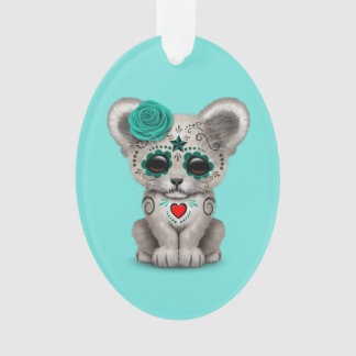 Blue Day of the Dead Lion Cub Ornament