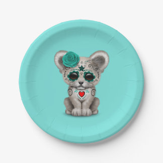 Blue Day of the Dead Lion Cub Paper Plate
