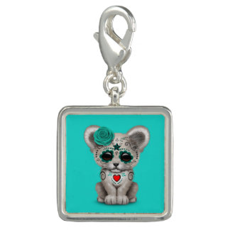 Blue Day of the Dead Lion Cub Photo Charm