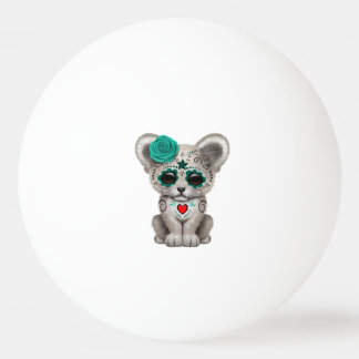 Blue Day of the Dead Lion Cub Ping Pong Ball