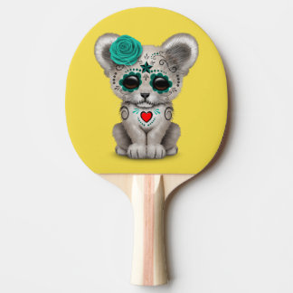 Blue Day of the Dead Lion Cub Ping Pong Paddle