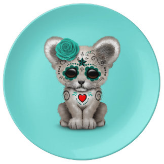 Blue Day of the Dead Lion Cub Plate
