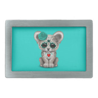 Blue Day of the Dead Lion Cub Rectangular Belt Buckle
