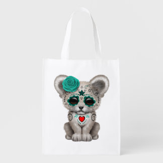Blue Day of the Dead Lion Cub Reusable Grocery Bag