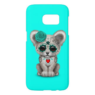Blue Day of the Dead Lion Cub Samsung Galaxy S7 Case