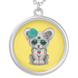 Blue Day of the Dead Lion Cub Silver Plated Necklace