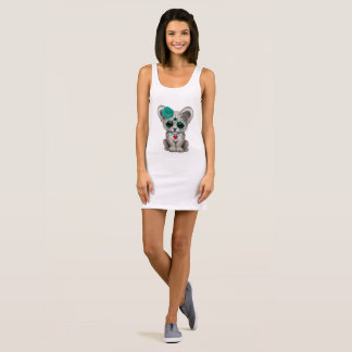 Blue Day of the Dead Lion Cub Sleeveless Dress