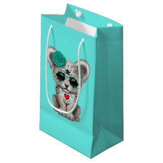 Blue Day of the Dead Lion Cub Small Gift Bag