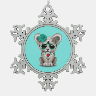 Blue Day of the Dead Lion Cub Snowflake Pewter Christmas Ornament