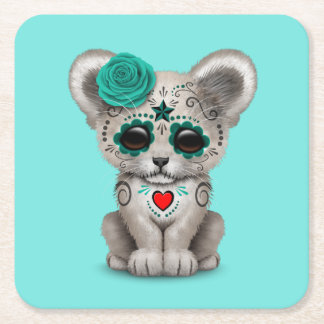 Blue Day of the Dead Lion Cub Square Paper Coaster