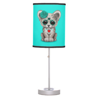Blue Day of the Dead Lion Cub Table Lamp