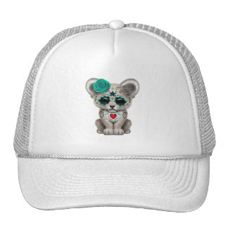 Blue Day of the Dead Lion Cub Trucker Hat