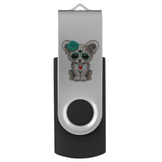 Blue Day of the Dead Lion Cub USB Flash Drive
