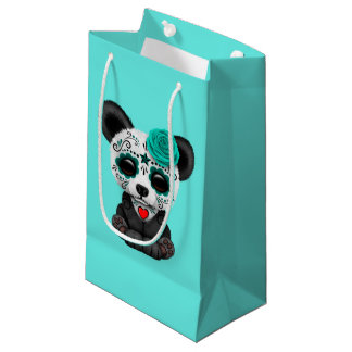 Blue Day of the Dead Panda Cub Small Gift Bag
