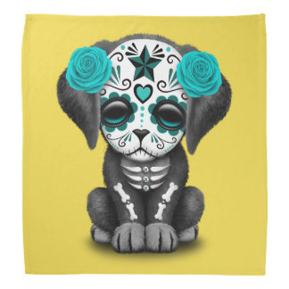 Blue Day of the Dead Puppy Dog Bandana