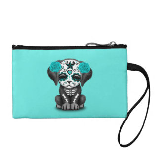 Blue Day of the Dead Puppy Dog Coin Purse