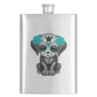 Blue Day of the Dead Puppy Dog Hip Flask