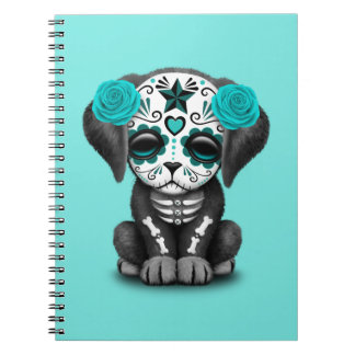 Blue Day of the Dead Puppy Dog Notebooks