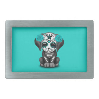 Blue Day of the Dead Puppy Dog Rectangular Belt Buckle