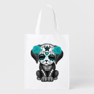 Blue Day of the Dead Puppy Dog Reusable Grocery Bag
