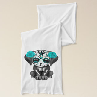 Blue Day of the Dead Puppy Dog Scarf