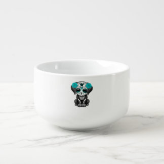 Blue Day of the Dead Puppy Dog Soup Bowl With Handle