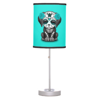 Blue Day of the Dead Puppy Dog Table Lamp