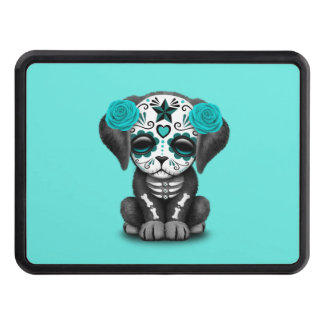 Blue Day of the Dead Puppy Dog Trailer Hitch Cover