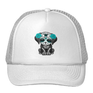 Blue Day of the Dead Puppy Dog Trucker Hat