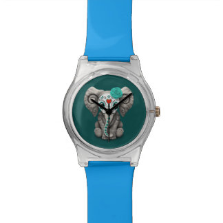 Blue Day of the Dead Sugar Skull Baby Elephant Watches