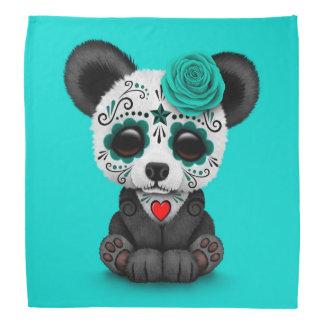 Blue Day of the Dead Sugar Skull Panda Bandana