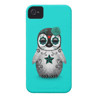 Blue Day of the Dead Sugar Skull Penguin iPhone 4 Case-Mate Cases