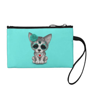 Blue Day of the Dead Wolf Cub Coin Purse