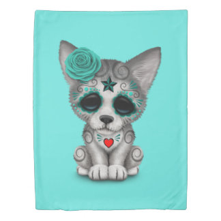 Blue Day of the Dead Wolf Cub Duvet Cover