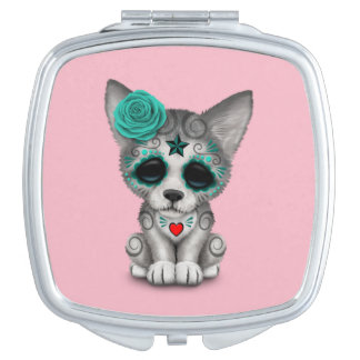 Blue Day of the Dead Wolf Cub Makeup Mirror