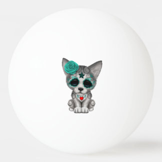Blue Day of the Dead Wolf Cub Ping Pong Ball