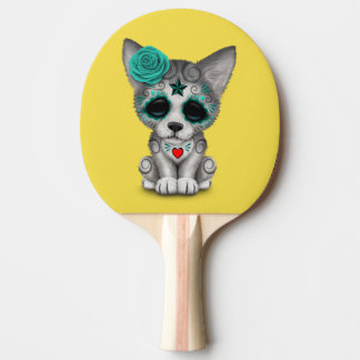 Blue Day of the Dead Wolf Cub Ping Pong Paddle