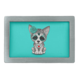 Blue Day of the Dead Wolf Cub Rectangular Belt Buckle