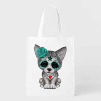 Blue Day of the Dead Wolf Cub Reusable Grocery Bag