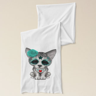 Blue Day of the Dead Wolf Cub Scarf
