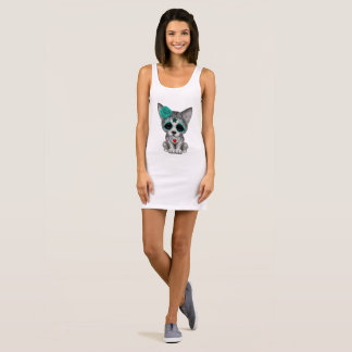 Blue Day of the Dead Wolf Cub Sleeveless Dress