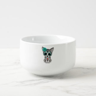 Blue Day of the Dead Wolf Cub Soup Bowl With Handle