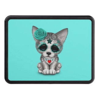 Blue Day of the Dead Wolf Cub Trailer Hitch Cover