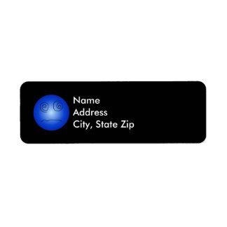 Blue Dazed and Confused Smiley Return Address Label