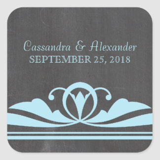 Blue Deco Chalkboard Wedding Stickers