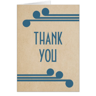 Blue Deco Chic Thank You Card