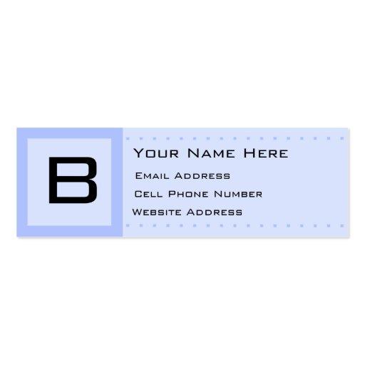 Blue Deco Initial Skinny Profile Business Card
